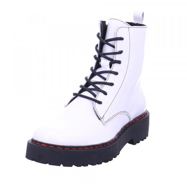Online Shoes Damen F-8280 Weiße Lack Boots Weiß - Bild 1