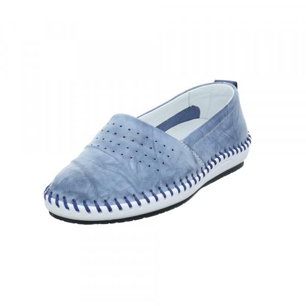 Krisbut Damen 2411-3-1 Blaue Glattleder Slipper Blau - Bild 1