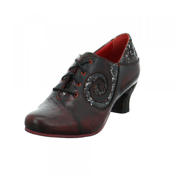 Simen Damen 3082A-WEINROT Roter Glattleder Schnürschuh Rot / Bordeaux - Bild 1