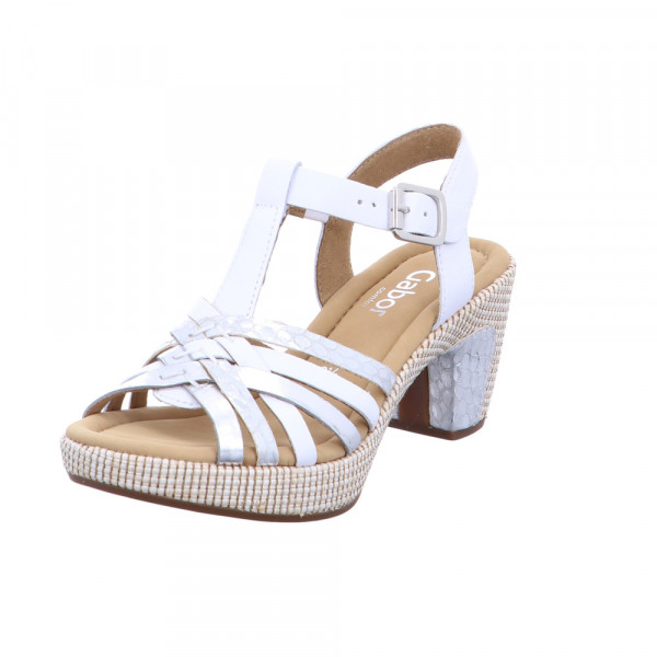 Gabor comfort Damen 82-736-51 Weiß-Silberne Leder Sandalette Weiß - Bild 1