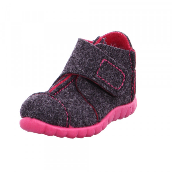 Superfit Happy Kinder Hausschuhe aus Wolle in grau-rosa Grau - Bild 1