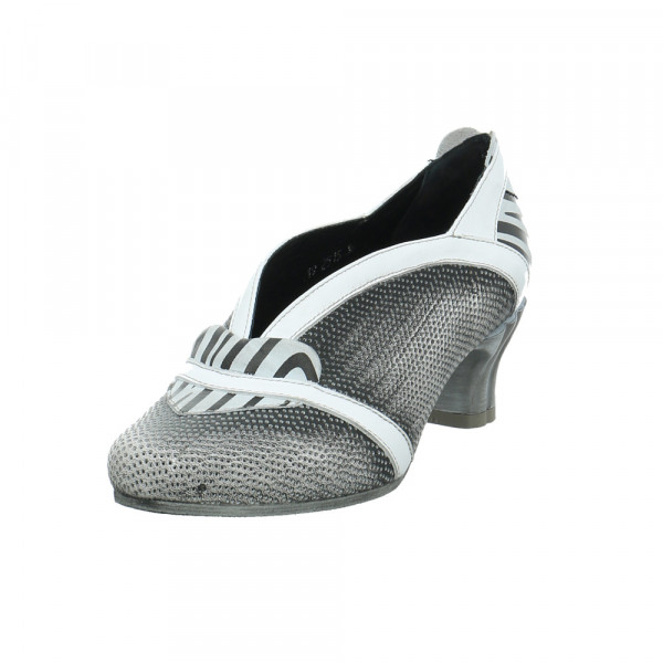 Simen Damen 2515A-656 Grau Weiße Glattleder Pumps Schwarz - Bild 1