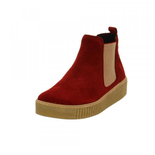 Gabor Damen 33-731-18 Rote Veloursleder Chelsea Boots Rot / Bordeaux - Bild 1