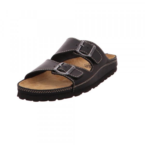 Longo Herren Fußbettpantolette aus Glattleder in schwarz Schwarz - Bild 1