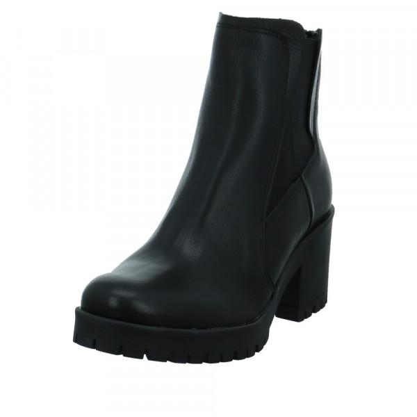 Online Shoes Damen F-8299 Schwarze Glattleder Stiefelette Schwarz - Bild 1
