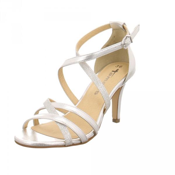 new style 4daac d0050 Tamaris Damen 28002-948 Silberfarbene Synthetik Sandalette Gold / Silber