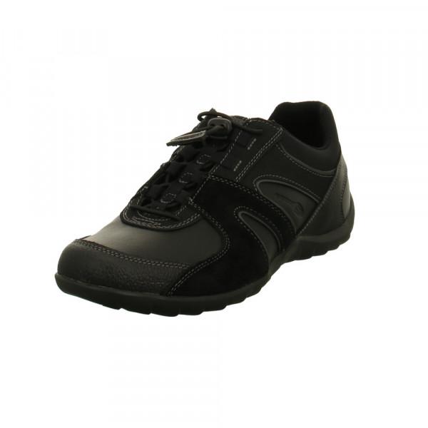 Geox Herren Ravex Schwarze Leder/Textil Sneaker Schwarz - Bild 1