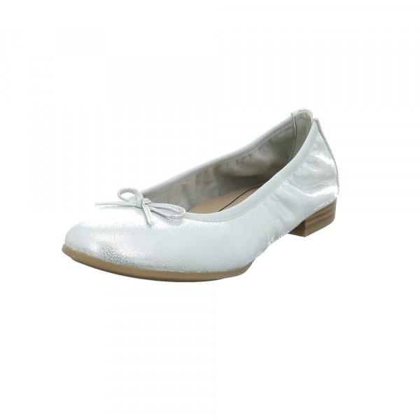 Tamaris Damen 22116-941 Silberfarbener Glattleder Ballerina Gold / Silber - Bild 1